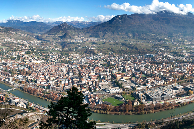 panorama photo of the city of Trento