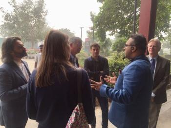 The GLOBUS team touring the O.P. Jindal Global University campus.