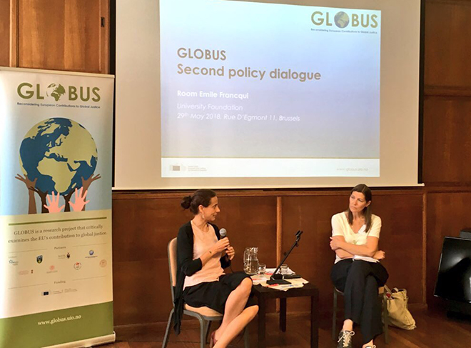 Natalie Tocci (left) in conversation with GLOBUS coordinator Helene Sjursen