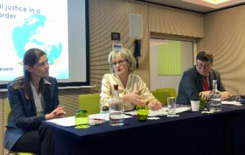 Helene Sjursen (ARENA Centre for European Studies), MEP Mairead McGuinness and Ben Tonra (University College Dublin).