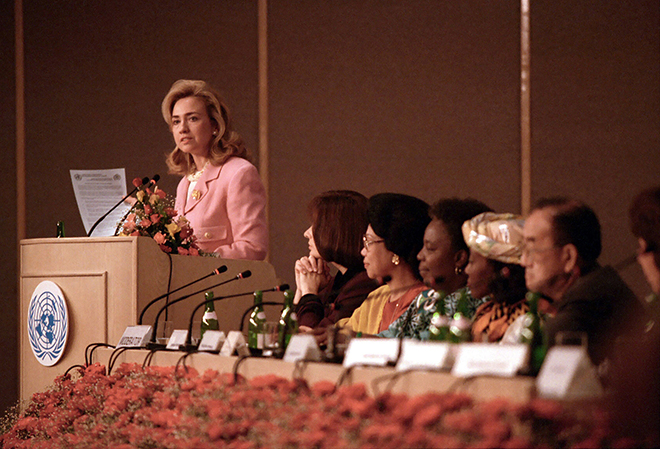 Hillary Rodham Clintoon in Beijing, 1995